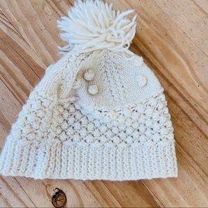 Vintage Wool Beanie with Poof Ball Bone White